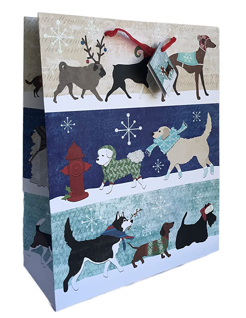 Holiday Dogs in Winter Attire Glittery Christmas Themed Gift Bag