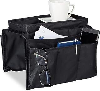 Relaxdays Organiseur canapé fauteuil pliable 6 poches de rangement accoudoir support HxlxP: 22x18x32 cm, noir, 22 x 18 x 3...