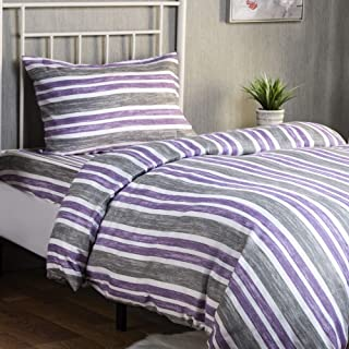 XLNT Premium Twin Size Bed Sheet Duvet Cover, 3 Piece Set, 39 Inch, Cotton Blend, Super Soft, Deep Pockets, Machine Washable, Great for Boys, Girls Or Guest Room, Cabana Stripe Lilac Design