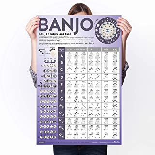 Banjo Chord Chart of Popular Chords | Reference Poster of Banjo for Beginners Adults or Kids, Easy to Read and Learn Banjo...