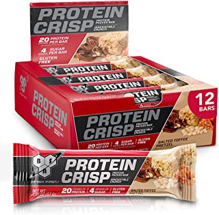 BSN Protein Bars - Protein Crisp Bar by Syntha-6, Whey Protein, 20g of Protein, Gluten Free, Low Sugar, Salted Toffee Pret...