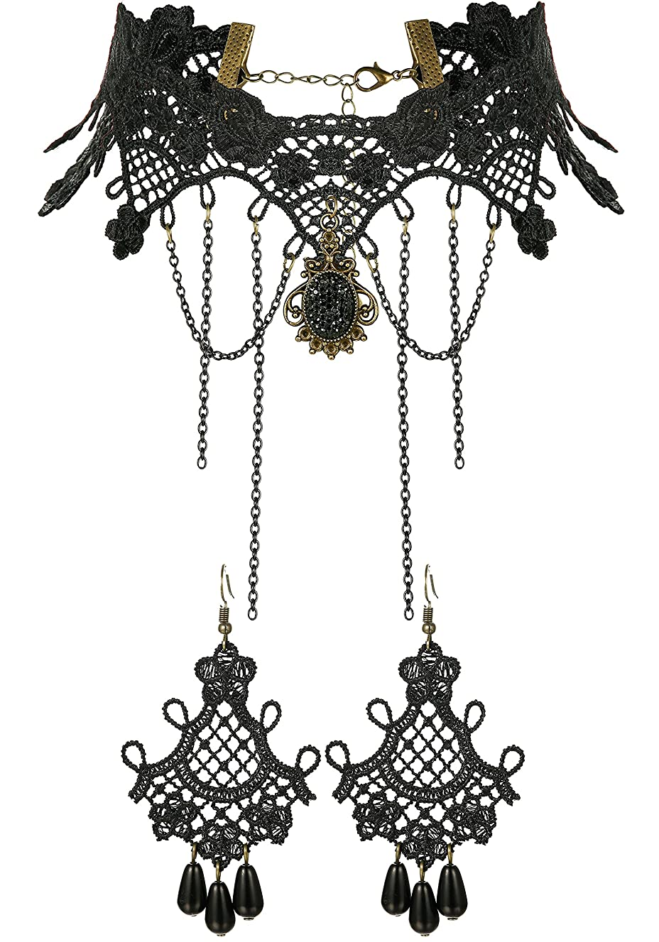 Thunaraz Chokers for Women Black Lace Gothic Vintage Choker Necklace and Earrings Set Lolita Style
