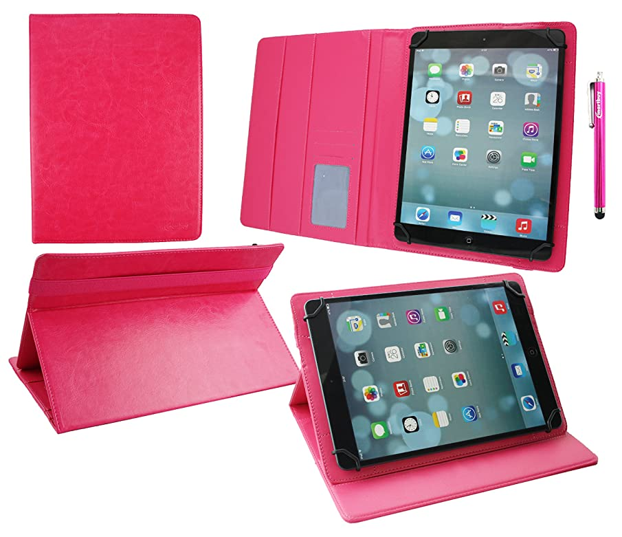 Emartbuy Universal 9.1 Inch - 10.1 Inch Pink Multi Angle Folio Wallet Case Cover with Card Slots Pink Interior Pink Elastic Strap and Stylus Pen Suitable for Selected Devices Listed Below