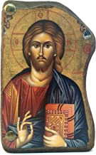 Handmade Wooden Greek Christian Orthodox Mount Athos Icon of Jesus Christ / Mp4_1