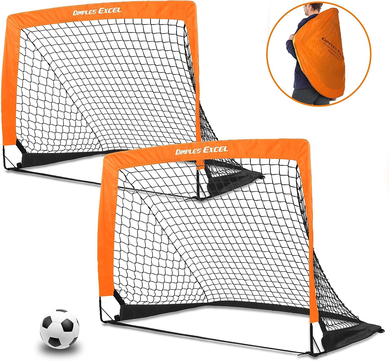 marca Dimples Excel Juego de fútbol portátil con Poste de de de Fibra de Vidrio, configuración instantánea, Plegado fácil, 40  x29 x30 , Set de 2  te hará satisfecho