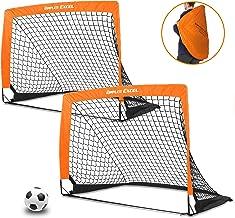 DIMPLES EXCEL Portable Soccer Goal with Fiber Glass Pole, Instant Set-Up, Easy Fold-Up, 4'x3'x3', Set of 2 (Orange/Black Edge)