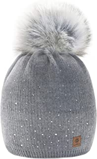 morefaz Winter Cappello Cristallo più Grande Pelliccia Pom Pom Invernale di Lana Berretto delle Signore delle Donne Beanie...