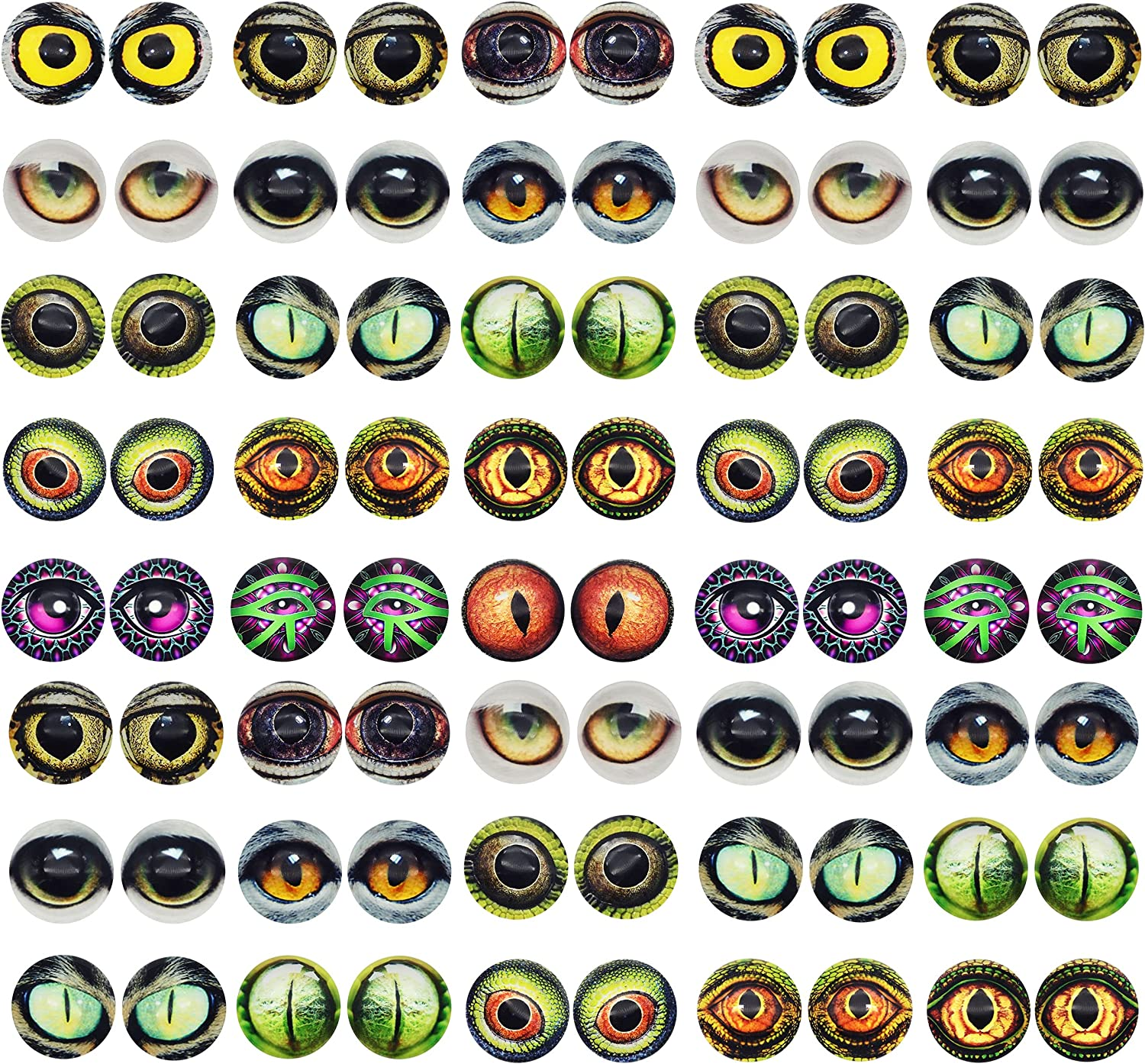 Max 55% OFF 6MM 100PCS Owl Snake Lizard Animal Glass Cabochon Eyes We OFFer at cheap prices Clay for