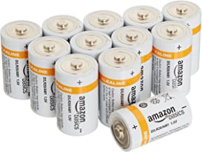 AmazonBasics D Cell 1.5 Volt Everyday Alkaline Battery - 12-Pack