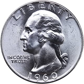 1960 D U.S. Washington Quarter 90% Silver Coin, 1/4 Brilliant Uncirculated Mint State Condition