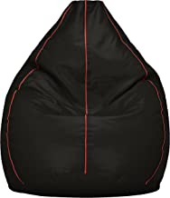 Amazon Brand - Solimo XXXL Bean Bag Cover (Black with Pink Piping)