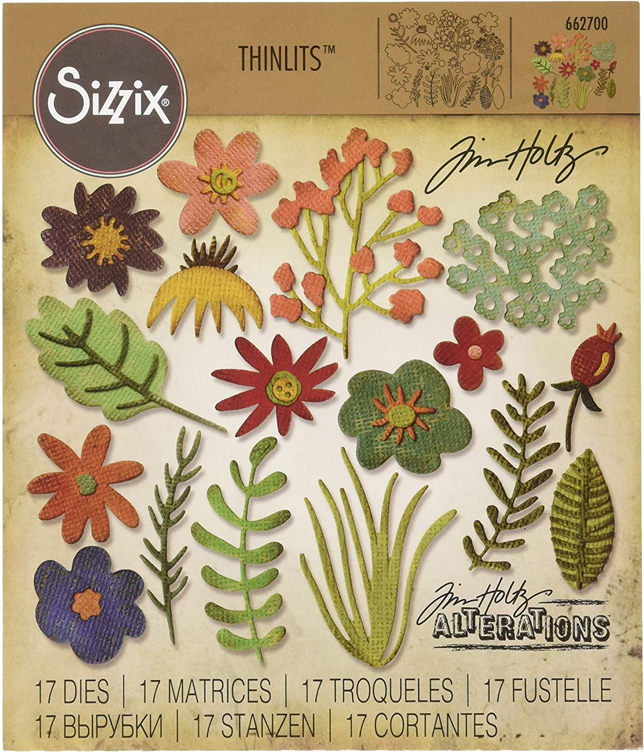 Sizzix Thinlits Die Set 17PK #1 Funky Ranking TOP19 Floral Ultra-Cheap Deals -