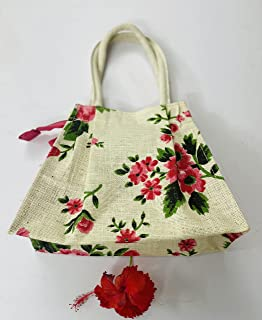 Eco friendly jute bags floral print | Women Men Girls boy Office Daily use | Tiffin Lunch Box Carry Bag with Zip |Reusable...