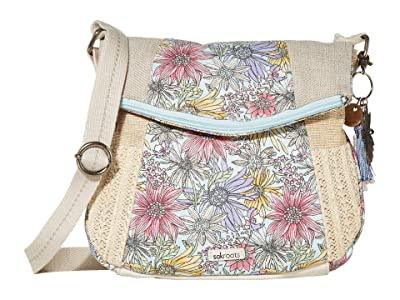 Sakroots Artist Circle Foldover Crossbody (Pastel Flower Garden) Cross Body Handbags