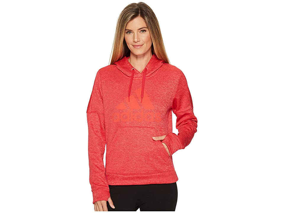 adidas Team Issue Fleece Pullover Logo Hoodie (Energy Pink Melange/Energy Pink Melange/Easy Coral) Women