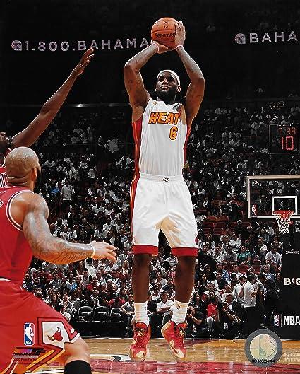 LeBron James Miami Heat White Jersey Shooting Action 8