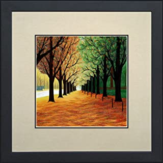 King Silk Art 100% Handmade Embroidery Autumn Tree Path Chinese Print Framed Wildlife Landscape Painting Gift Oriental Asian Wall Art Décor Artwork Hanging Picture Gallery 37033WFG