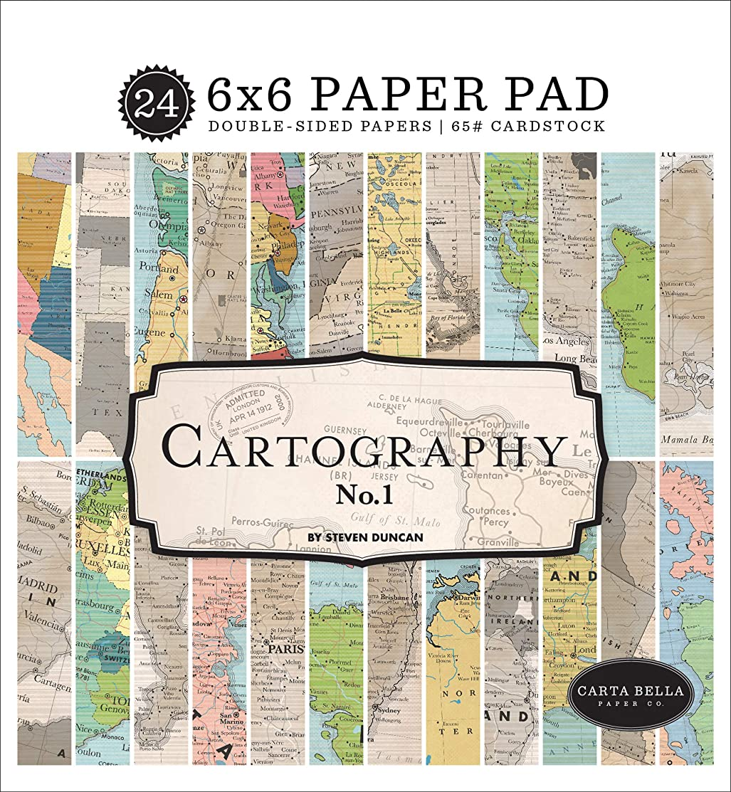 Carta Bella Paper Company CBCA97023 Cartography No. 1 6x6 Pad Paper, red, Blue, tan, Sepia, Yellow