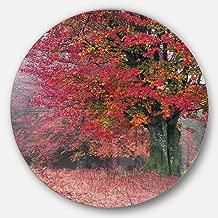 """designart mt9534-c23""""الهادئ لفصلي الخريف والشتاء الغابة بعد عاصفة المناظر الطبيعية مستديرة مقاس الصورة"""" أعمال فنية جدارية معدنية ، 23"""" x 58سم ، باللون الأحمر"""