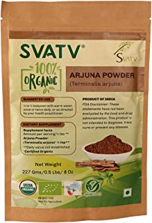 SVATV Organic Arjuna Bark Powder (Terminalia Arjuna) 1/2 LB, 08 oz, 227g USDA Certified Organic- Zip Lock Pouch Traditional rejuvenative and Tonic for The Heart*