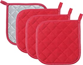 Pot Holders Cotton Made Machine Washable Heat Resistant Potholder, Pot Holder, Hot Pads, Trivet for Cooking and Baking (4, Red)