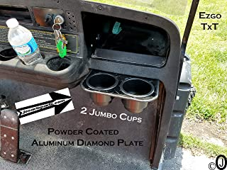 J & O Carts Parts Ezgo TxT 2 Jumbo Cup Drink Holder Black Powder Coated Aluminum Diamond Plate