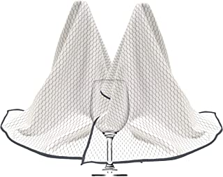 Polyte Professional Microfiber Wine Glass Fine Polishing Cloth (18x28, 2 Pack, White/Black)