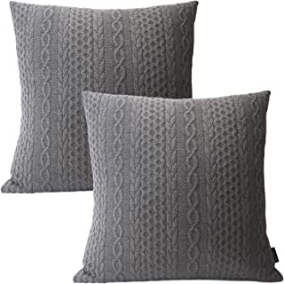 Booque Valley Decorative Pillow Covers, Pack of 2 Super Soft Elegant Modern Embossed Patterned Cushion Covers Throw Pillow Cases for Sofa Bed Car Chair, 18 x 18 inch(Dark Grey)