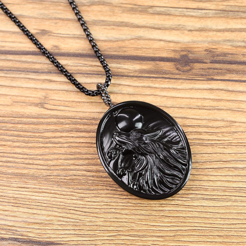 COAI Obsidian Stone Wolf Amulet Pendant Necklace