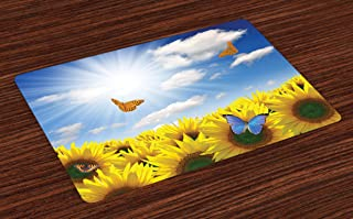 Lunarable Sunflower Place Mats Set of 4, Sunflowers in Meadow with Butterflies Floral Image Country Style Home Design, Washable Fabric Placemats for Dining Room Kitchen Table Decor, Yellow Blue