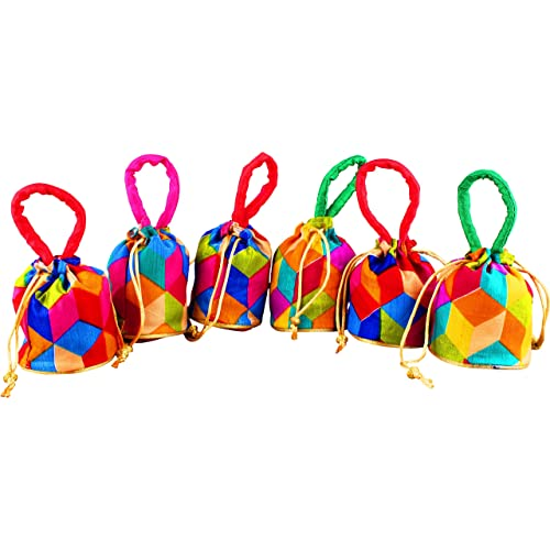 Bombay Haat Womens Small Size Set Of 6 Silk Potli Bags Pouches Gift