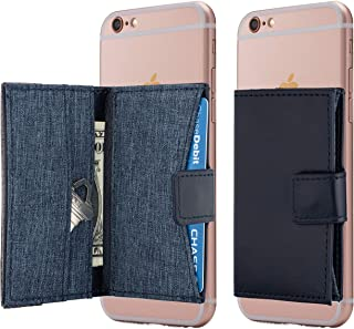 Cell Phone Card Holder Stick on Wallet Phone Pocket for iPhone, Android and All Smartphones (Sea Blue)