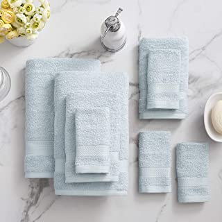 Sponsored Ad - Welhome Basic 100% Cotton Towel (Sky Blue) - 8 Piece Set - Quick Dry - Absorbent - Soft - 434 GSM - Machine...