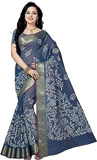 RANI SAAHIBA Printed Poly Cotton Saree (SKR3665_Blue)