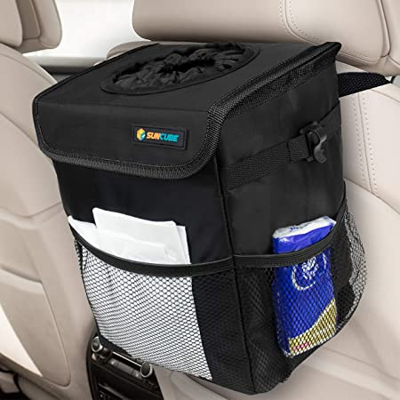 Car Trash Can with Lid and 3 Storage Pockets 100/% Waterproof Car Organizer Auto Garbage Can Multipurpose Trash Bin for Car