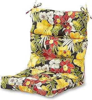 Greendale Home Fashions Indoor/Outdoor High Back Chair Cushion, Aloha Black