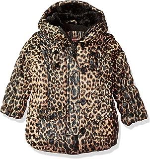 Urban Republic Girls' Little' Long Puffer Jacket, Brown/Leopard, 4