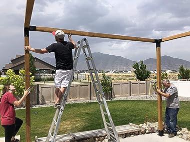 Bjorn Woodworks Pergola Kit or Elevated Wood Stand Kit with Steel Brackets   Modular Sizing   Pergola Brackets Boot, Shoulder