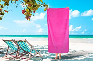 Silken Textile Large 100% Turkish Cotton Ultra Soft Terry Velour Beach Towel Spa Bath Pool by (1, Hot Pink)