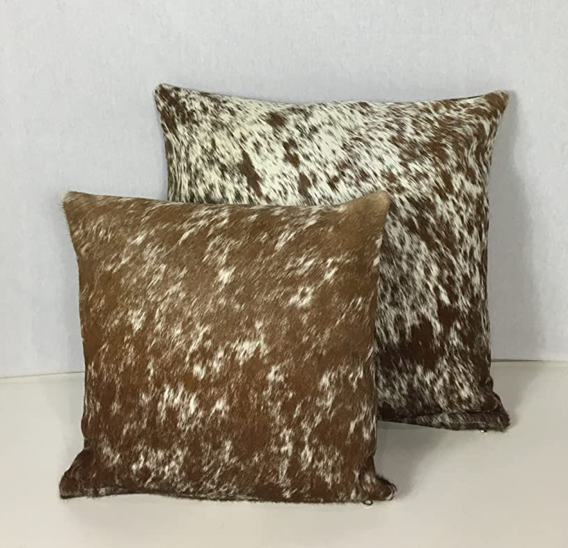 Gaucho Cowhides Snowie Brown & White Genuine Cowhide Pillow Cover - 16x16 Inches or 20x20 Inches (20x20)