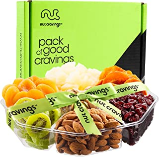 Gourmet Nut & Dried Fruit Gift Basket Assortment (7 Variety) - Edible Care Package Set, Birthday Party Food Arrangement Platter - Healthy Snack Box for Families, Women, Men, Adults - Prime Delivery
