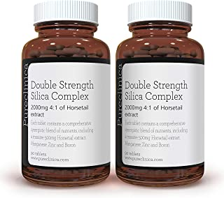 Double Strength Silica Complex – 6 Month Supply! (2000mg Horsetail Extract x 180 Tablets(2 Bottles of 90)) SKU: SIL90x2