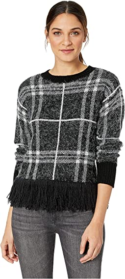 Eyelash Plaid Fringe Hem Sweater