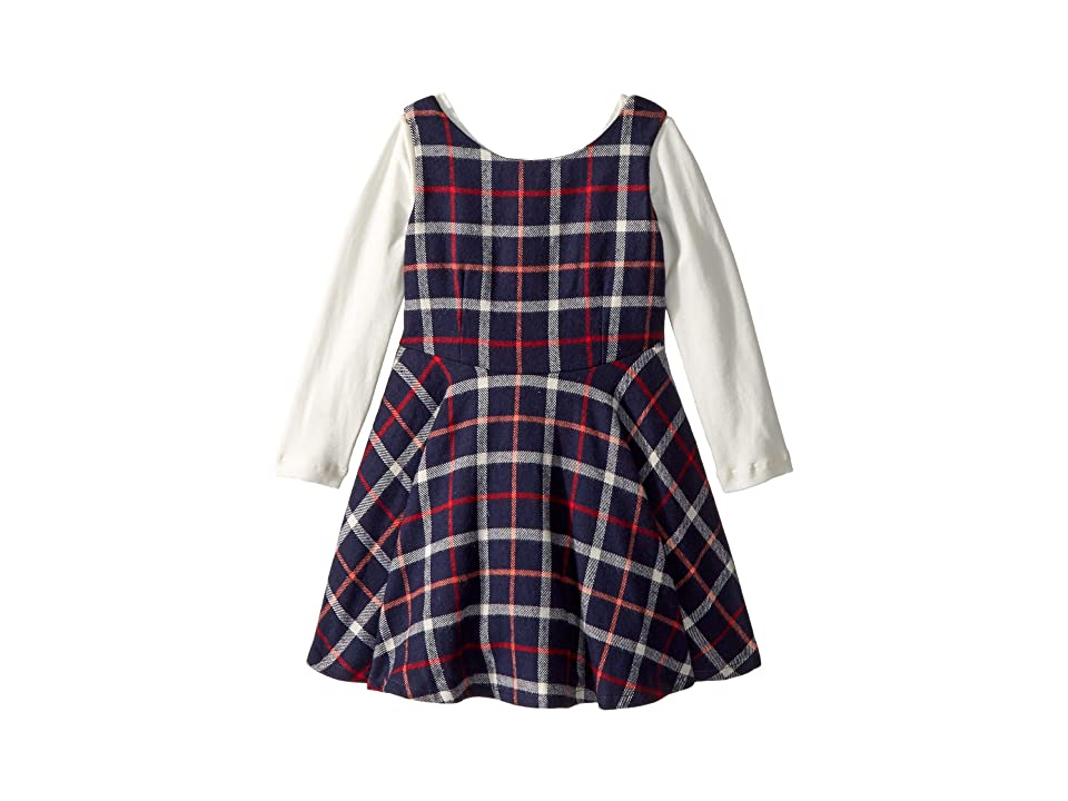 fiveloaves twofish Flannel Fit N Flare Dress (Toddler/Little Kids) (Navy) Girl