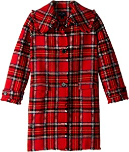 Button Up Plaid Wool Jacket (Big Kids)