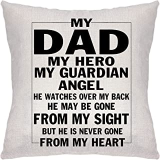 Krifton Father Gift from Daughter Son - Throw Pillow Cover Cushion Cover My Dad My Hero for Dad Father's Day Thank You App...