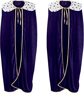 Beistle Adult King/Queen Robe 2 Piece, One Size, Purple/White/Black/Gold
