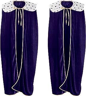Beistle S60253-PLAZ2 Adult King/Queen Robe 2 Piece, Purple/White/Black/Gold