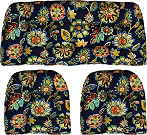 "RSH Décor 3 Piece Set Indoor Outdoor - 1 Loveseat & 2 Wicker Tufted U - Shape Chair Cushions - Daelyn Navy Floral (41"" x 19"" & 19"" x 19"")"