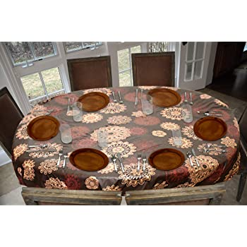 "Covers For The Home Deluxe Stitched Edged Flannel Backed Vinyl Drop Tablecloth - Medallion Pattern - 54"" x 72"" - Oval"